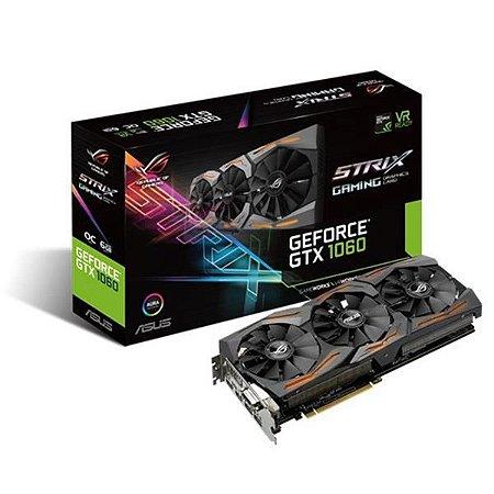 Placa de Video ASUS GEFORCE GTX 1060 6GB ROG STRIX OC EDITION DDR5 192BITS - STRIX-GTX1060-O6G-GAMIN