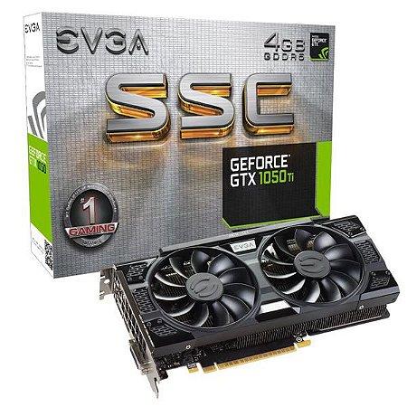 PLACA DE VIDEO EVGA GEFORCE GTX 1050 TI 4GB SSC GAMING ACX 3.0 DDR5 128BITS - 04G-P4-6255-KR