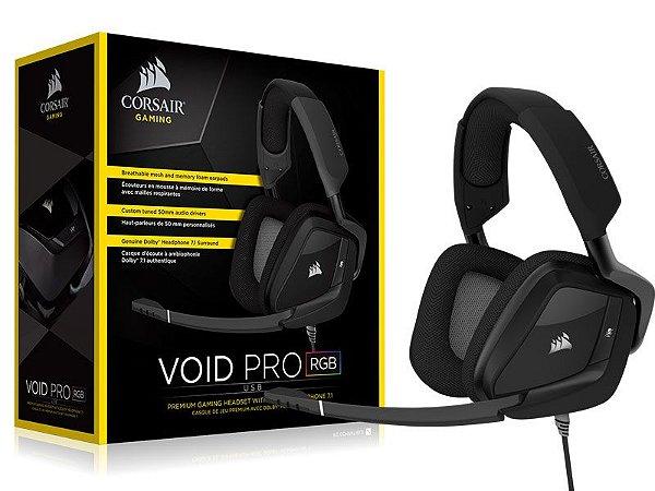 Headset Gamer Corsair VOID PRO RGB CARBON USB