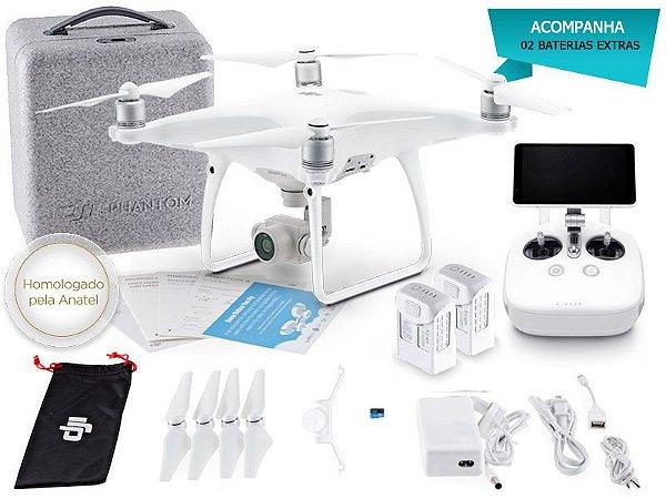 Drone DJI PHANTOM 4 ADVANCED+ COMBO C/ 02 BATERIAS EXTRAS E RADIO CONTROLE COM TELA INTEGRADA DE 5.5 POL 37847-3