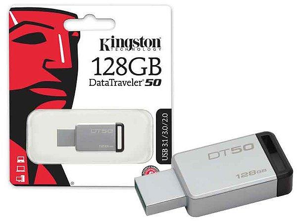 Pen Drive Kingston 128GB DATATRAVELER 50 128GB METAL PRETO USB 3.1 DT50