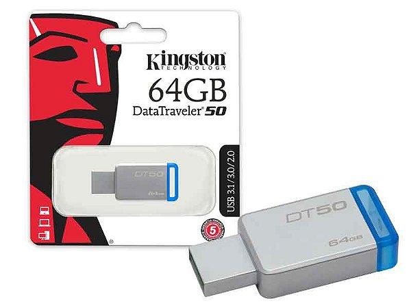 Pen Drive Kingston 64GB DATATRAVELER 50 METAL AZUL USB 3.1 DT50