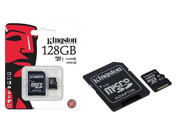 Cartão De Memoria Kingston CLASSE 10 MICRO SDXC 128GB COM ADAPTADOR SD