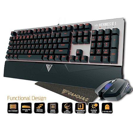 Kit Gamer Gamdias TECLADO MECANICO + MOUSE + MOUSE PAD HERMES E1