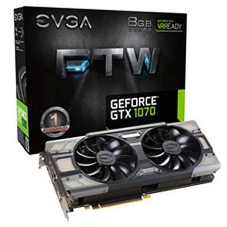 Placa De Video Evga Geforce GTX 1070 FTW GAMING ACX 3.0 8GB DDR5 256BITS 08G-P4-6276-KR