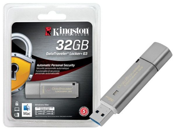 Pen Drive Kingston 32GB DATATRAVELER 32GB LOCKER+ G3 USB 3.0 CRIPTOGRAFIA DTLPG3