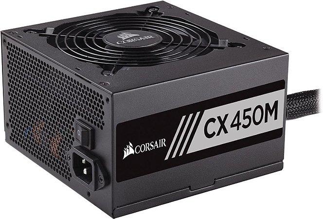 Fonte Corsair ATX 450W CX450M Semi-Modular 80PLUS BRONZE - CP-9020101-WW