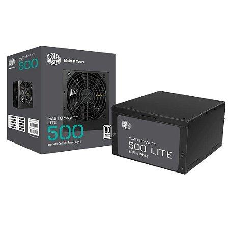 Fonte Cooler Master MasterWatt Lite 500w 80 Plus White  MPX-5001-ACAAW-WO