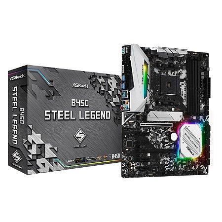 Placa Mãe Asrock B450 ATX Seel Legend AM4 USB 3.1 GEN1 / TYPE-C / DDR4 / DISPLAYPORT, HDMI