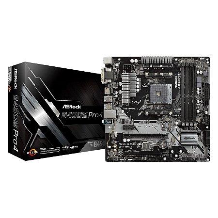 Placa Mãe Asrock B450M Pro4 AM4 USB 3.1ATX  / TYPE-C /  DDR4 / HDMI, DVI-D, D-SUB
