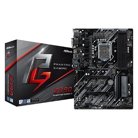 Placa Mãe Asrcok Z390 Phatom Gaming ATX 4 INTEL 1151 DDR4 / 8ª  E 9ª GERAÇÃO