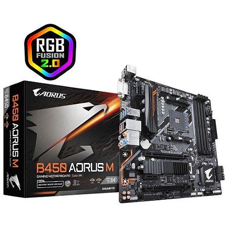 Placa-Mãe Gigabyte B450 AORUS M (AM4/DDR4/Micro-ATX/HDMI/DVI)