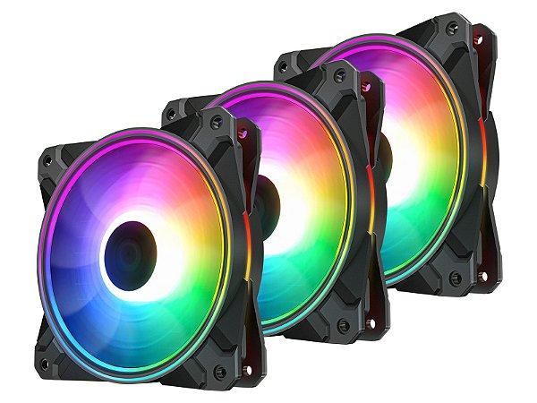 Kit Cooler Deepcool CF 120 Plus RGB com 3 unidades - DP-F12-AR-CF120P-3P