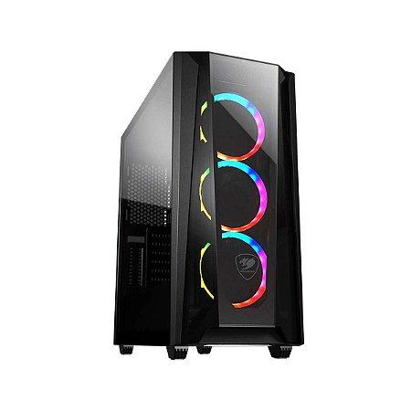 Gabinete Gamer Cougar MX660-T RGB, Black, Mid Tower, 3 Fans ARGB, Sup GPU Verti.