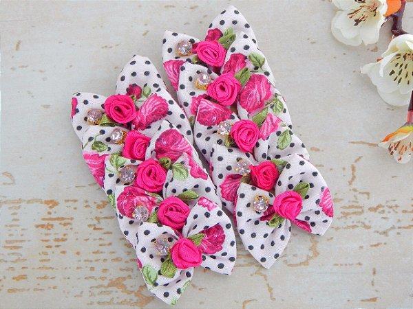 JOY LAÇOS DE TECIDO - Rosas Pink e Poá Preto