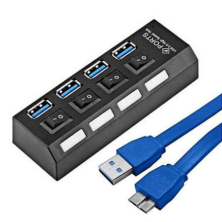 Hub Usb 3.0 4 Portas Com Switch E Led Indicador Suporta hd 1tb