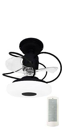 Ventilador de Teto Treviso Monaco Preto C/ Controle Remoto e LED 18W Bivolt