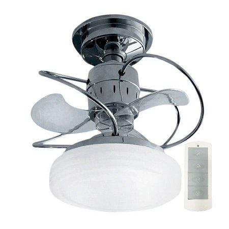 Ventilador de Teto Treviso Bali Cromado C/ Controle Remoto e LED 18W Bivolt