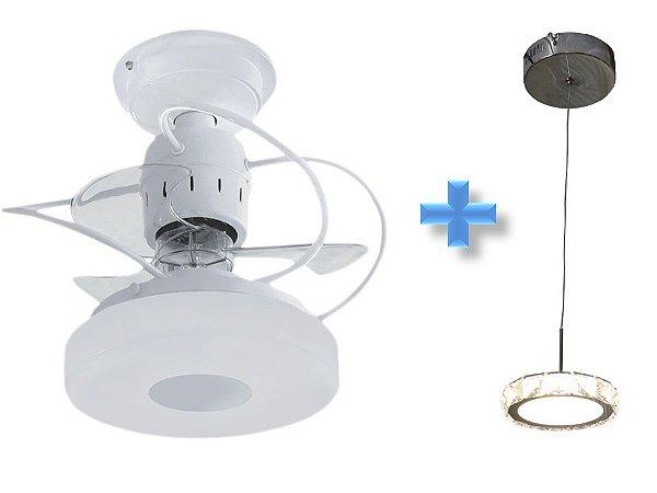 Ventilador de Teto Treviso Monaco Branco + Pendente LED