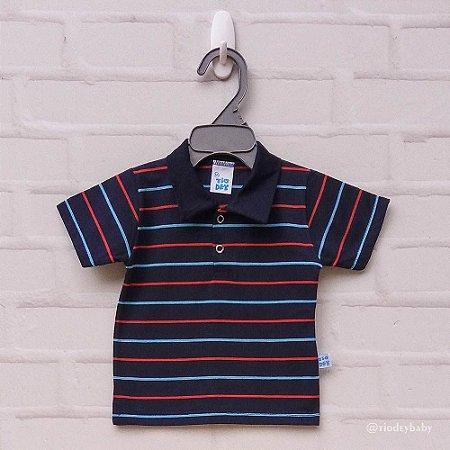 Camisa Polo Listras Marinho