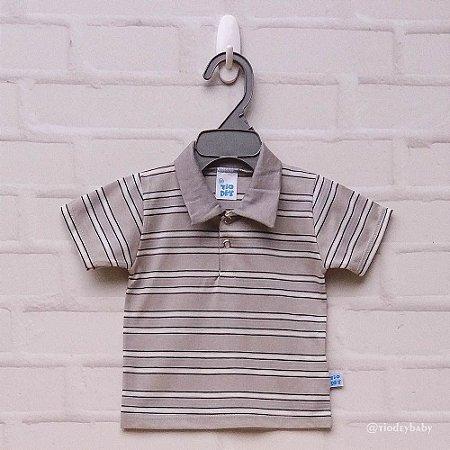 Camisa Polo Listras Bege
