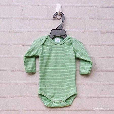 Body Listras Verde Bebê Manga  Longa