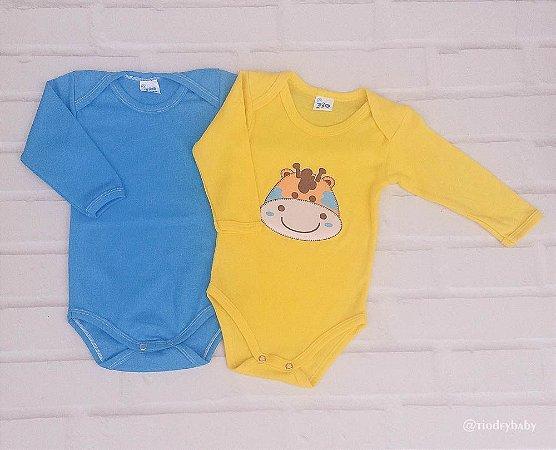 Kit Body Liso Azul e Yellow Girafa