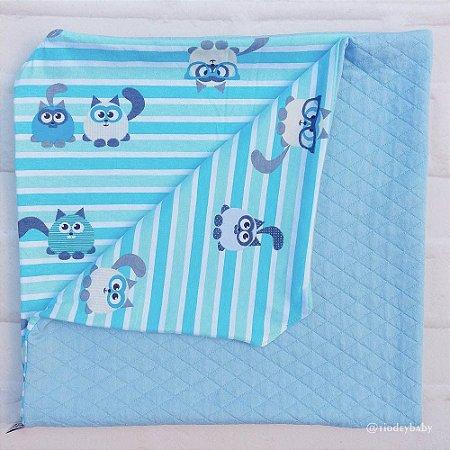 Manta Matelassê Gato Azul