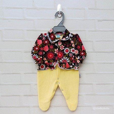 Macacão Plush Amarelo Floral