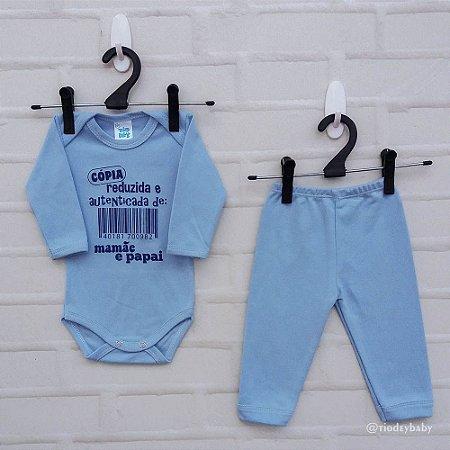Conjunto Suedine Frases Cópia Papai e Mamãe Azul