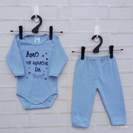 Conjunto Suedine Frases Amo os Abraços da Vovó Azul