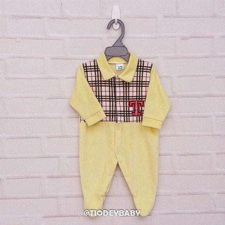 Macacão Plush Xadrez Amarelo