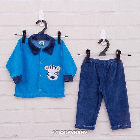 Conjunto Plush Azul Zebrinha