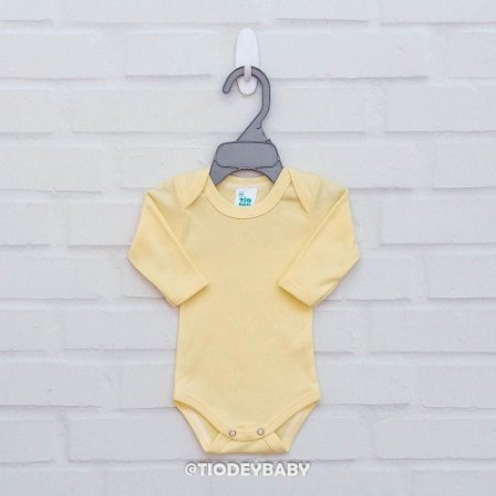 Body Suedine Amarelo Manga Longa