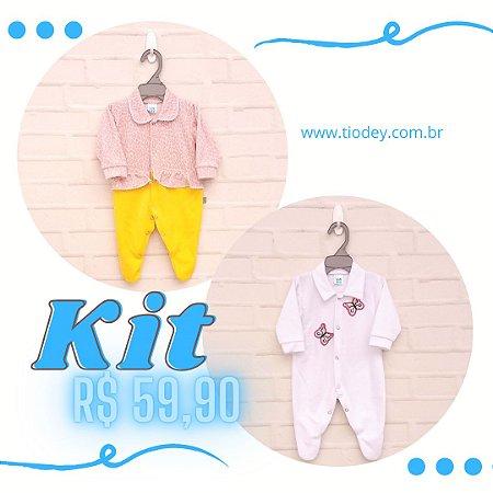 Kit 2 Macacões Oncinha + Branco Borboletas