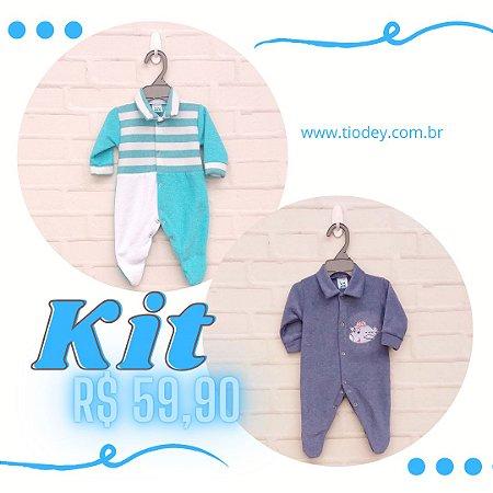 Kit 2 Macacões Azul Classic + Verde Piscina Listras