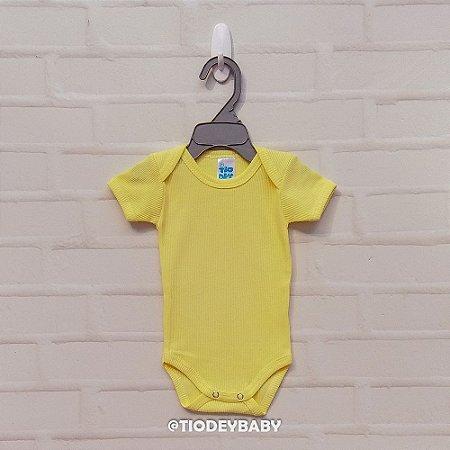 Body Canelado 2x1 Manga Curta Amarelo
