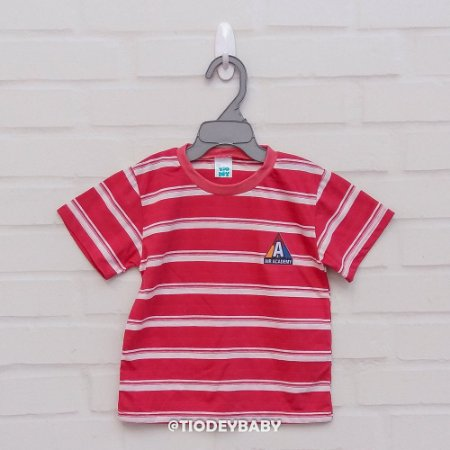 Camiseta Malha Manga Curta Listrada Vermelho Academy