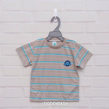 Camiseta Malha Manga Curta Listrada Bege