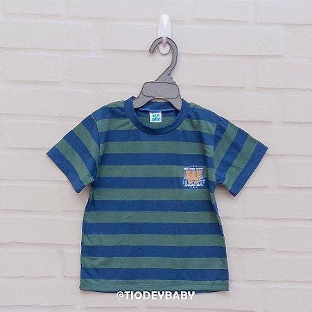 Camiseta Malha Manga Curta Listrada Verde com Azul Athletic