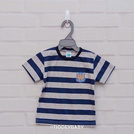 Camiseta Malha Manga Curta Listrada Azul com Mescla Athletic