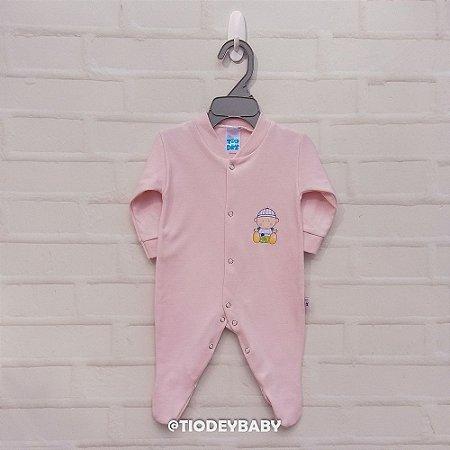 Macacão Longo Suedine Rosa Claro Baby