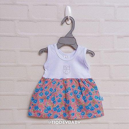Vestidinho Floral Rosas Azuis