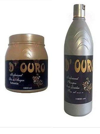Kit Selagem de Argan + Shampoo Antiresiduos D Ouro 1 Litro
