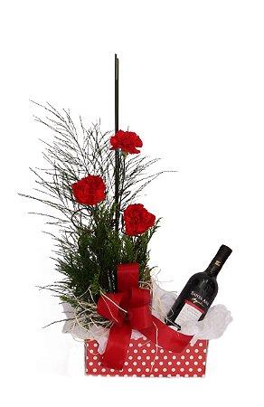 Cesta de Flores e Vinho