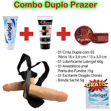 Combo Duplo Prazer - Cinta c/ 02  Pênis  + 01 Lubrigel 60g + 01 Anestésico Anal + 01 Excitante