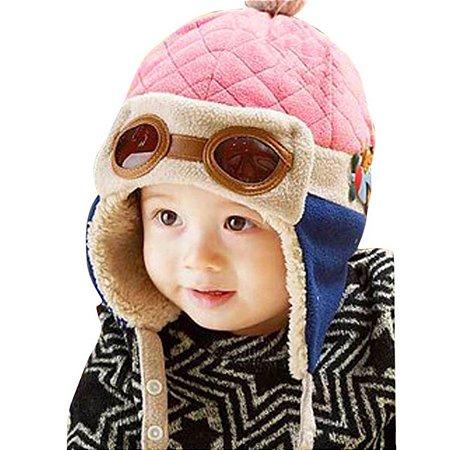 a1c3e167d8232 Touca aviador - Rosa com azul marinho - Pupa Kids Acessórios para bebês