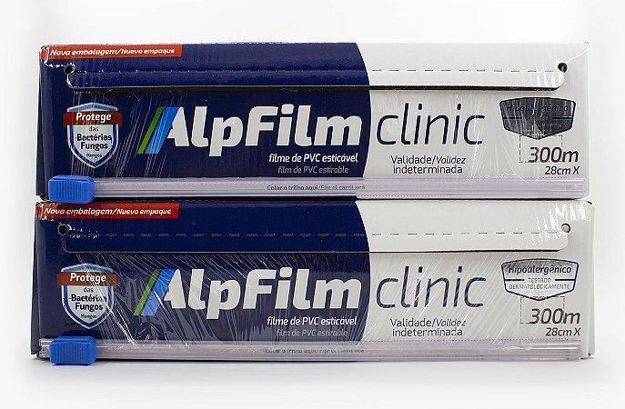 Combo Clinic em dobro ( 2 unidades Filme PVC Hipoalergênico AlpFilm ClinicTrilho 28cm x 300m) - C15