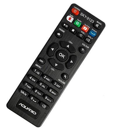 Controle Remoto Receptor Aquário Smart STV-2000 com Teclas Netflix / Spotify / Youtube / Amazon