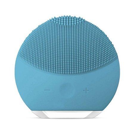 Escova Limpeza Facial Massageadora Esfoliação Recarregável - Azul Claro